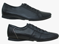 side view of ADAM and BEN mens dance shoes in black leather